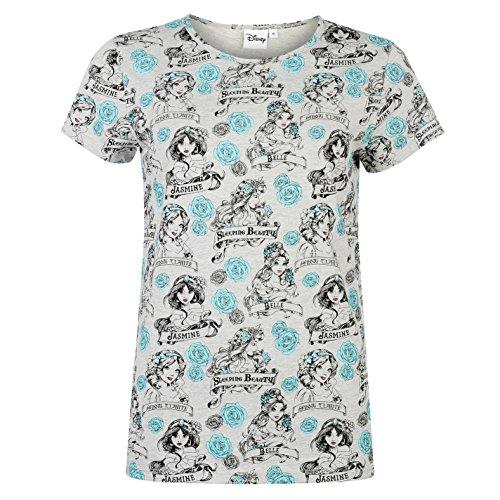 Character Damen Kurzarm T Shirt Kurzarm Rundhals Print Motiv Freizeit Disney Prinzessin 14 (Training Prinzessin Disney)