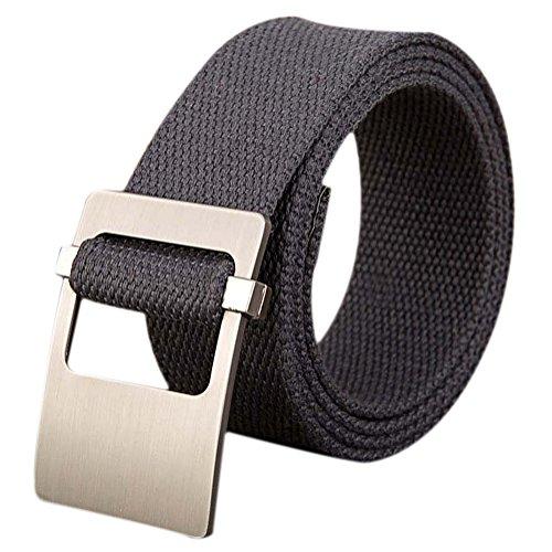 Namgiy cintura in tessuto per uomo e donna in tessuto stretch elastico intrecciato fibbia ampia cintura per jeans pantaloni corti pin esterno 110 * 3.8cm grigio dark gray 110 * 3.8cm