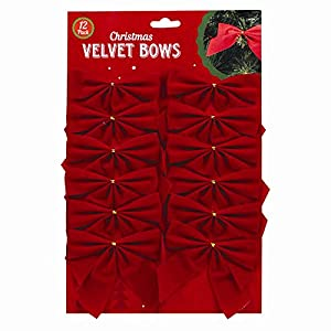12 Red Christmas Velvet Bows for Decoration