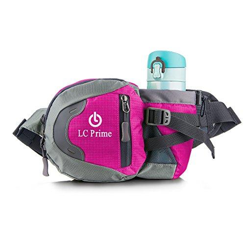 LC Prime Taille Tasche,Tragbare Wasserflasche Design Auf der Bauchtasche für Reisen, und Outdoor Aktivitäten Nylon Fabric Purplish-Red, by