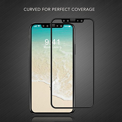 Luvvitt tempered glass Screen Protector case friendly compatibile per iPhone x 10 (2017) Black
