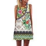 VJGOAL Damen Kleid, Damen Sommer Vintage Boho ärmelloses Strand Gedruckt Kurze Mini Party Kleid Frau Geschenk (3XL / 48, Grün)