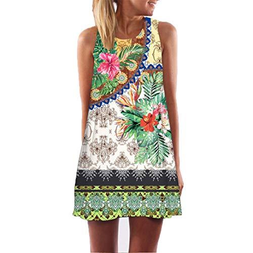 VJGOAL Damen Kleid, Damen Sommer Vintage Boho ärmelloses Strand gedruckt Kurze Mini Party Kleid Frau Geschenk (2XL / 46, Grün)