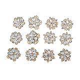 Homyl 6 Paar Kristall Strass Brosche Pins für Taschen, Hüte, Modische Acessoires - Gold