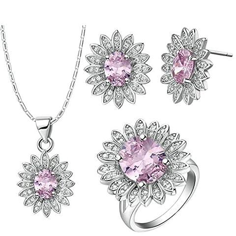Bishiling Mode Schmuck Sets Damen Versilbert Oval Blume Rosa Kristall Ring Anhänger Halskette Ohrringe Set Größe 54