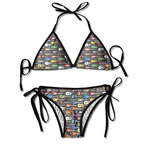 Women's Printing Bikini,Writing Songs Digital Classic Sexy Bikini 2 Pieces (10 Songs Top Halloween)