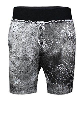 trueprodigy casuale uomo pantaloncini tuta uni stampa, abbigliamento urban moda vintage (sweat short & slim fit classic), jogger moda vestiti colore: nero 6472105-2999 Black