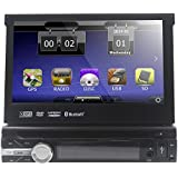 HIZPO Wince Universal Head unit Single Din Car Stereo GPS sat nav DVD Player 7.0 inch In Dash support GPS/Navi/USB/SD/Subwoofer output/Cam-in/Bluetooth/Steering Wheel Control Function/FM/AM Radio Stereo Multimedia Station Navigation System with Free 8GB SD Card (Main unit)