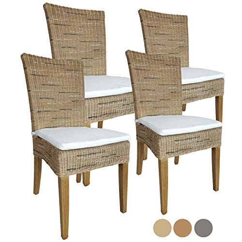 Casamia Rattan-Stuhl-Set Cardine, 4 Stück weiß oder braun Cappuccino mit Sitzkissen, One Size