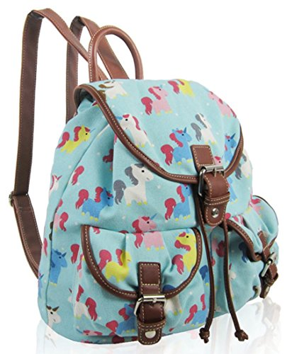 Kukubird Doppia Tasca Varie Emoji Unicorno Gatti Animali Modello Libro Scuola Palestra Uni Sport Classico Vintage Zaino Backpack Unicorn Turquoise