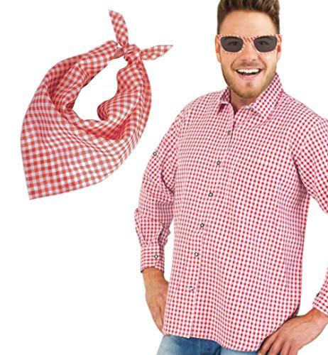 Rock Kostüm Und Roller - KarnevalsTeufel Herrenkostüm-Set Andreas 3-teilig Hemd mit Sonnenbrille und Dreiecktuch rot-weiß kariert Schlager Volksmusik (Medium)