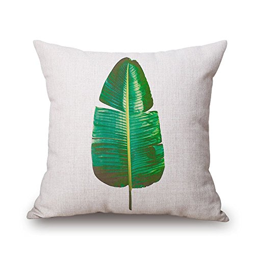 "Milesky Thick Square Decorative Throw Pillow Case 18x18"", Approx. 190g, Series I (Tropical Plant D)"