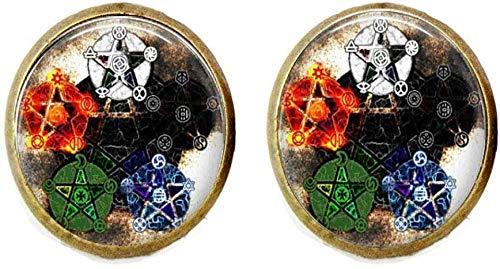 Elements Pentagram Wicca - Pendientes de Wiccan