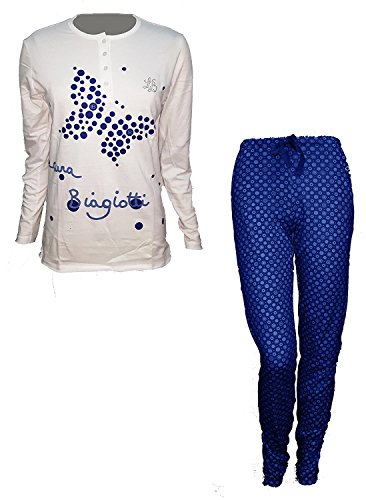 pigiama donna lungo caldo cotone scollo a V LAURA BIAGIOTTI nuova collezione art 96108