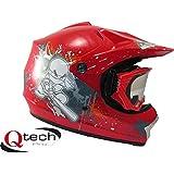 Qtech Casco protector con gafas para niños - Para motocross y todoterreno - Rojo - S (53-54 cm)