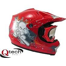 Qtech Casco protector con gafas para niños - Para motocross y todoterreno - Rojo - M (55-56 cm)
