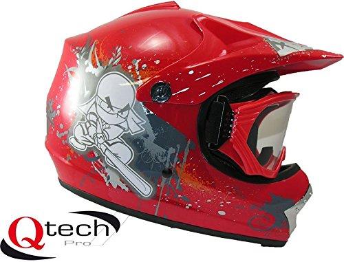 Qtech - Casque et lunettes protectrices de moto-cross - enfant - Rouge...