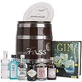 probierFass Gin Geschenk | 6 Gin Klassiker (5 x 0.05l) (1 x 0.04l) und ein interessantes Buch über Gin in einem originellen Fass mit Geschenkverpackung | Gin Gerschenkset | Gin Probierset