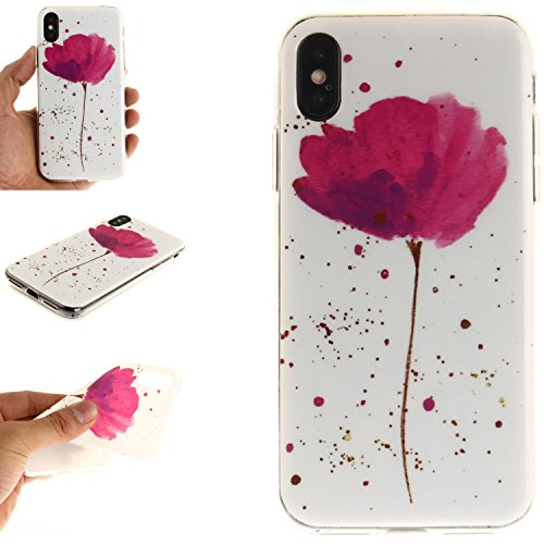 Ooboom® iPhone X Coque TPU Silicone Gel Housse Étui Cover Case Souple Légère Ultra Mince pour iPhone X - Lion Noir Fleur Violet