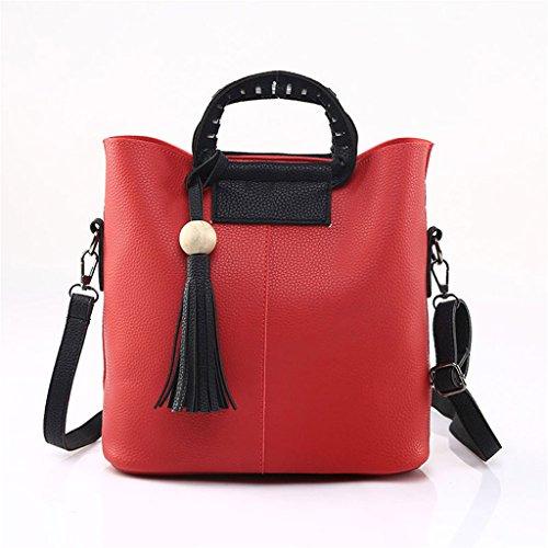 Longra Le donne della nappa dell'annata Borse in pelle a tracolla spalla + Pochette (Rosso)