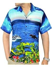 La Leela 4 en 1 croisière occasionnel bouton coupe décontractée vue thème loungewear de beach party vacances classic camp bas manches courtes avant hawaii chemise hawaïen bleu royal Pocket hommes