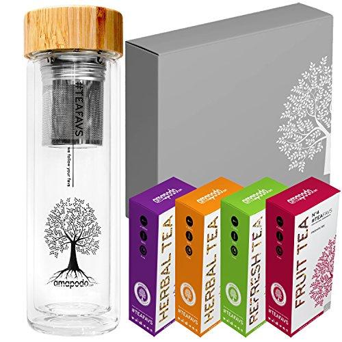 amapodo Teekanne Tee Box Angebot - Geburtstags-Geschenk Set für Frauen & Männer - Teeflasche, Teebereiter, Trinkflasche
