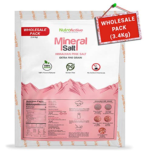 NutroActive Mineral Himalayan Pink Salt Extra Fine Grain , 0-0.5mm, 3400g