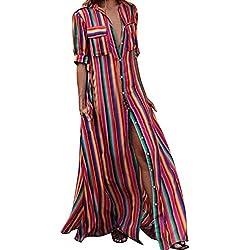 Vestidos Mujer Verano Elegante de Maxi Vestir Mangas Mitad de para Playa Fiesta,Raya Suelto Botón Bohe Moda Sexy Casual para Cóctel Evening Prom Ceremonia de la Boda (XL, Multicolor)