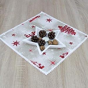 Erstaunliche Kleine Quadratische Tischdecke, Weihnachten, das Beste Geschenk für die schönste Küche von HomeAtelier, Weihnachtsdekoration, Rote Sterne und Bäume, 40x40cm