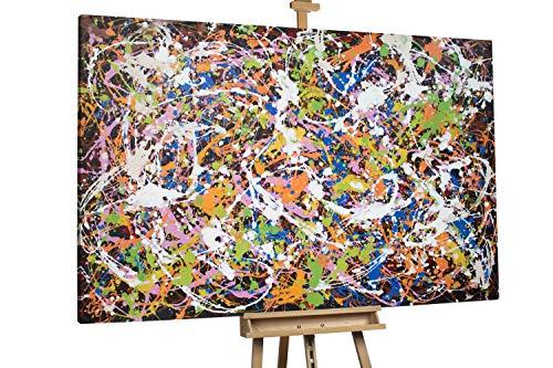 'Nachtorchester' 180x120cm | Absrakt Bunt Schwarz XXL | Modernes Kunst Ölbild