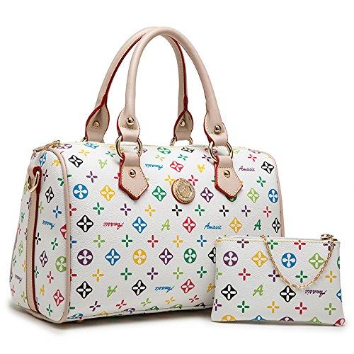 X&L Women's Retro Diagonale Mode Handtasche Umhängetasche Kissen 32 * 21 * 16 white colorful