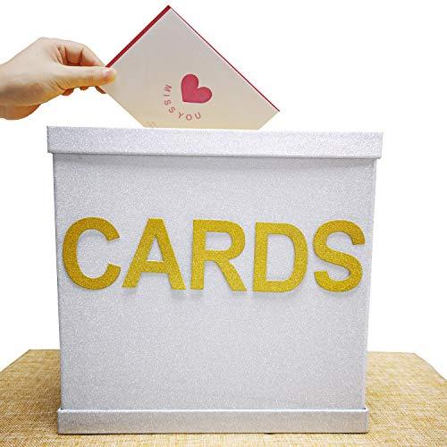 CHILLY Shining Geschenkkarten-Box mit Alphabet-Aufklebern, groß, 26 x 26 cm, die schönsten Grußkarten Sammelbox für Hochzeiten, Geburtstage, Abschlussfeiern, Braut- oder Babypartys - Alphabet Box