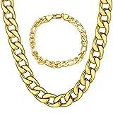 REYOK Collar Pulsera de Hombre de Cadena Cubana de Acero Inoxidable 21cm 51cm de Longitud Dorado, Cadena Collar Oro 24K 18K para Hombre