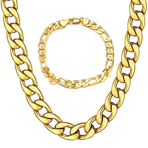 2 Pieces Mens Curb Chain Necklace Bracelet, 18K Gold Plated necklace 24K Gold Bracelets Jewellery for Men