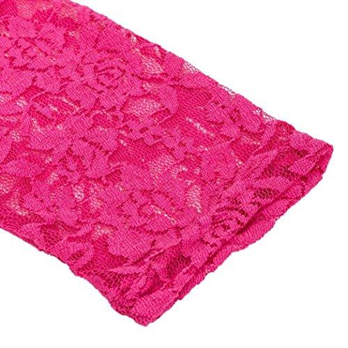 FEITONG Femmes Mode Dentelle Casual à encolure en V à manches courtes Robe Plus Size Rose vif