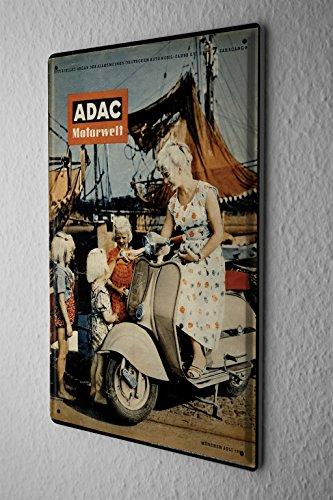LEotiE SINCE 2004 Blechschild Dekoschild Nostalgie Nostalgie Werbeplakat ADAC Motorwelt Zeitschrift 1956 Roller Segelschiff 20x30 cm -