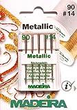 5 Madeira Sticknadeln für Metallic Garn Flachkolben für Nähmaschine Stärke 90/14