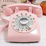 Klassische Altmodische Plattenspieler Telefon Wählscheibe Retro Telefon Antik Büro Haushalt Festnetz Landephone Metall Glocke (Farbe : Pink)