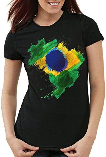 CottonCloud Flagge Brasilien Damen T-Shirt Fußball Sport Brazil WM EM Fahne, Farbe:Schwarz, Größe:XL