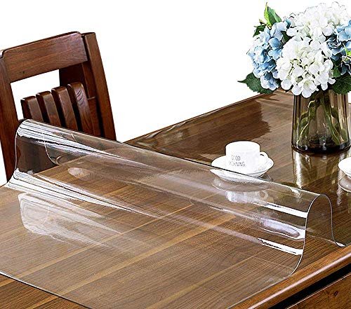CRYSENDO Ultra Thick Plastic Vinyl Table Cover Non-Slip Multi-Size Dining Table Pad for Wooden, Glass, Marble Table Desk. (24 X 35 Inch, 1.3mm Thick Clear Transparent Design)