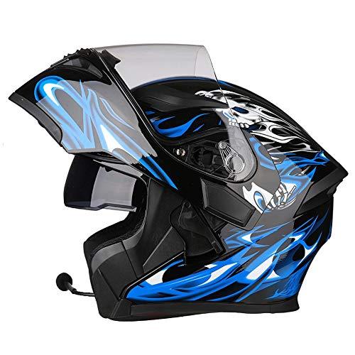 DBY Boy Bluetooth Helm Motorrad, Integralhelm, Klapphelm, Motorradhelm mit Doppellinse (Schwarz Blau 54-64CM),M