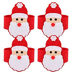Lot de 4pcs anneaux ronds de serviettes th me de p re no l for Decoration de noel amazon