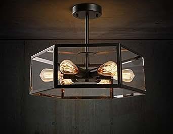 ZY pight American retro Creative Ristorante luce bar Cafe vento industriale Hexagonal casa lampadario in vetro Box Lampada da soffitto