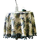Lying Mantel, mantel de mesa redonda mantel de picnic mantel de tela Retro hojas borla mantel sala de estar Cafetería restaurante hotel mantel diámetro 90-180cm - Decoración de mantel ( Tamaño : 240cm )