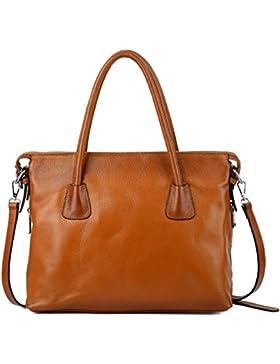 Yaluxe Damen Vintage Style Soft Leder Satchel Purse Shopper gross Schultertasche passt 13 Zoll Laptop