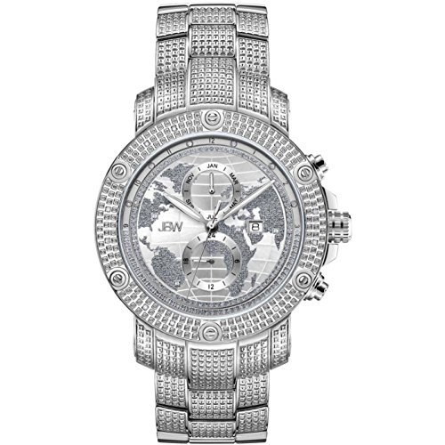 Jbw uomo Veyron Diamond 48 mm Steel Bracelet & case Swiss Quartz Watch J6360 A