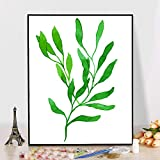 zxddzl Pequeña Planta Verde Fresca Abstracta Pintada a Mano Pintura al óleo Pintura al óleo 2 40 * 50