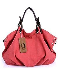 Tissu Sac à Main Epaule Bandoulière Porté Travers Large Capacité pour Filles Femmes Rouge