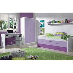 Mobimarket - Dormitorios Juveniles en blanco y lila - DORMITORIOS BARATOS