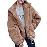 LAEMILIA Damen Mantel Jacke Plüsch Winter Stepp Warmen Oversize Boyfriend Outwear Cardigan Lange Ärmel Einfarbig Parka